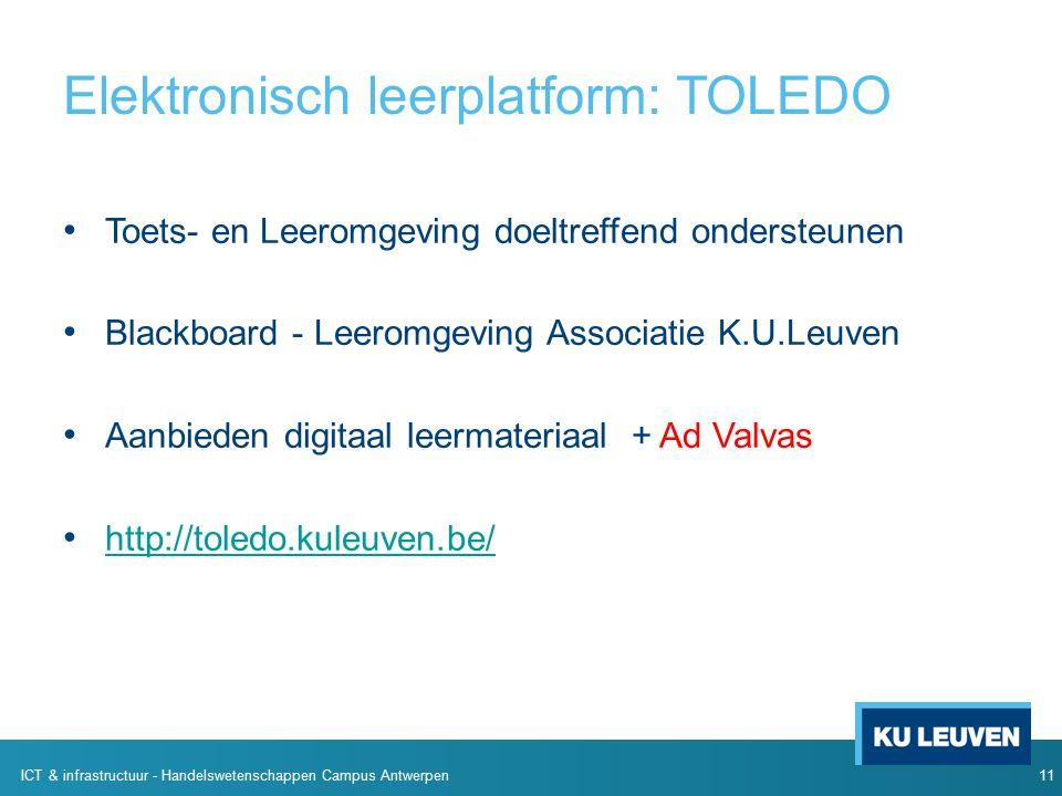 Elektronisch leerplatform: TOLEDO Toets- en Leeromgeving doeltreffend ondersteunen Blackboard - Leeromgeving Associatie K.U.Leuven Aanbieden digitaal leermateriaal + Ad Valvas http://toledo.kuleuven.be/ 11 ICT & infrastructuur - Handelswetenschappen Campus Antwerpen