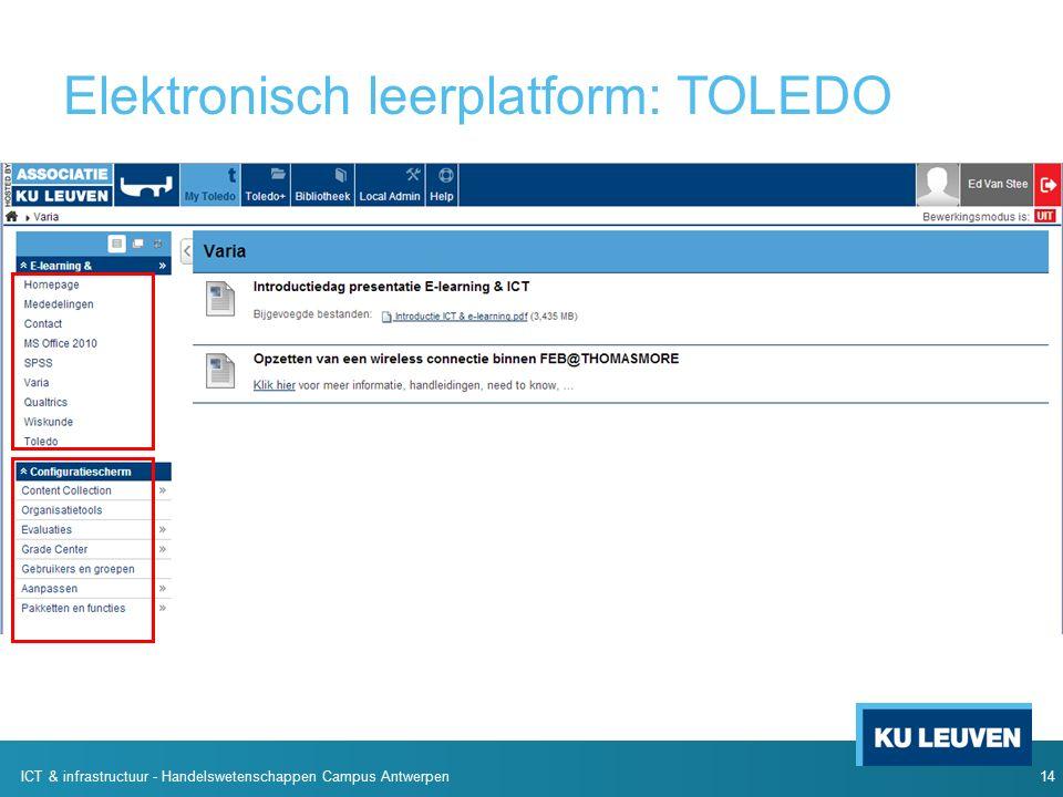 14 ICT & infrastructuur - Handelswetenschappen Campus Antwerpen Elektronisch leerplatform: TOLEDO