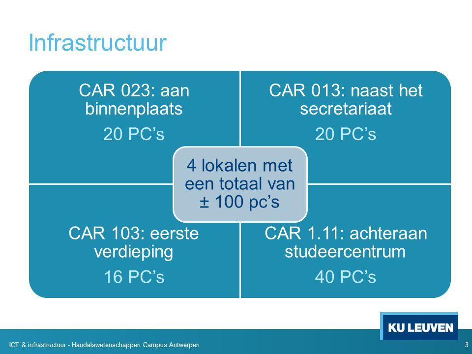 Infrastructuur CAR 023: aan binnenplaats 20 PC's CAR 013: naast het secretariaat 20 PC's CAR 103: eerste verdieping 16 PC's CAR 1.11: achteraan studeercentrum 40 PC's 4 lokalen met een totaal van ± 100 pc's 3 ICT & infrastructuur - Handelswetenschappen Campus Antwerpen