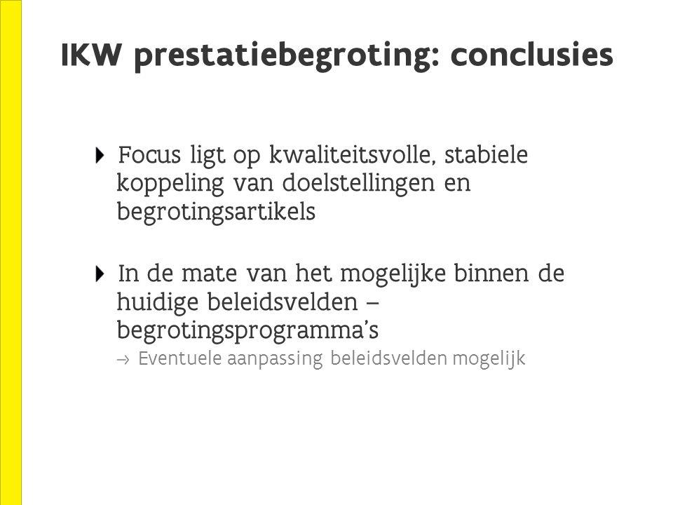 IKW prestatiebegroting: conclusies Focus ligt op kwaliteitsvolle, stabiele koppeling van doelstellingen en begrotingsartikels In de mate van het mogelijke binnen de huidige beleidsvelden – begrotingsprogramma's Eventuele aanpassing beleidsvelden mogelijk