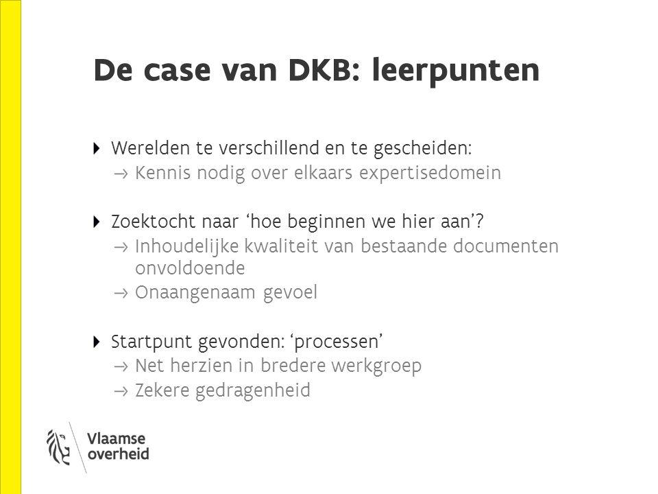 De case van DKB: leerpunten Werelden te verschillend en te gescheiden: Kennis nodig over elkaars expertisedomein Zoektocht naar 'hoe beginnen we hier aan'.