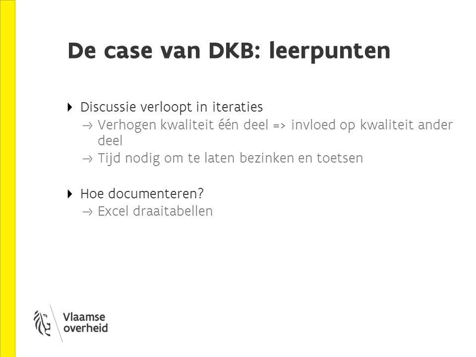 De case van DKB: leerpunten Discussie verloopt in iteraties Verhogen kwaliteit één deel => invloed op kwaliteit ander deel Tijd nodig om te laten bezinken en toetsen Hoe documenteren.