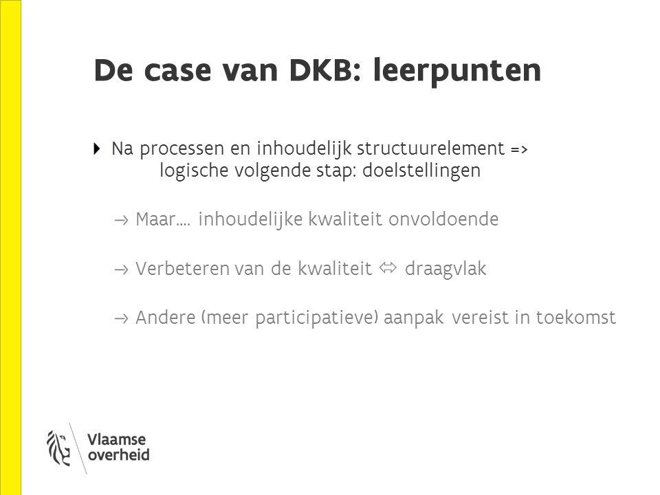 De case van DKB: leerpunten Na processen en inhoudelijk structuurelement => logische volgende stap: doelstellingen Maar….
