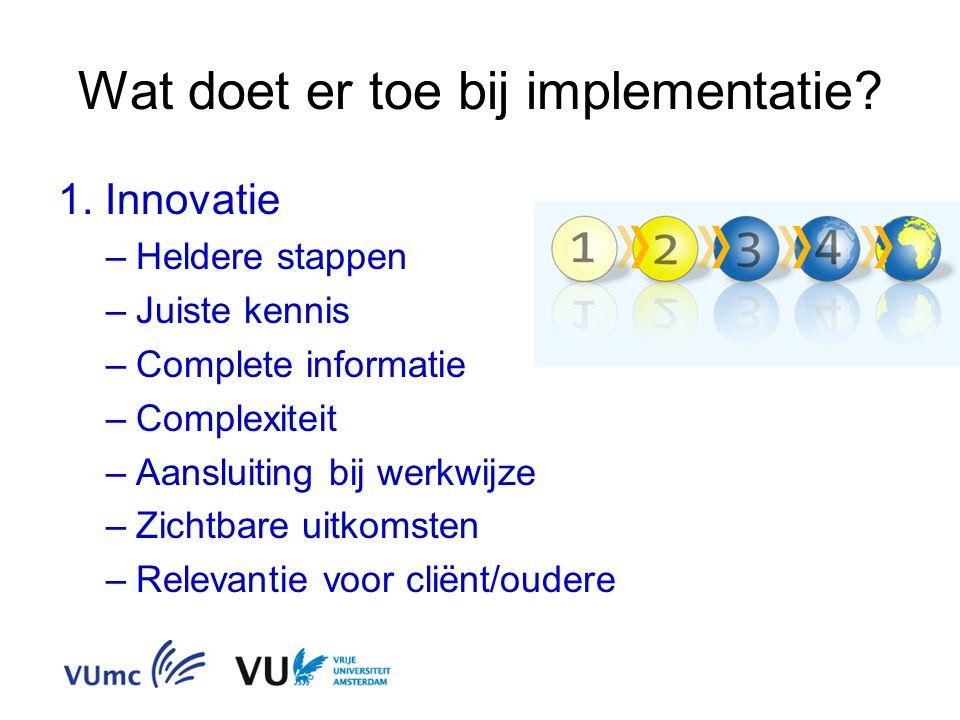 Wat doet er toe bij implementatie? 1. Innovatie –Heldere stappen –Juiste kennis –Complete informatie –Complexiteit –Aansluiting bij werkwijze –Zichtba