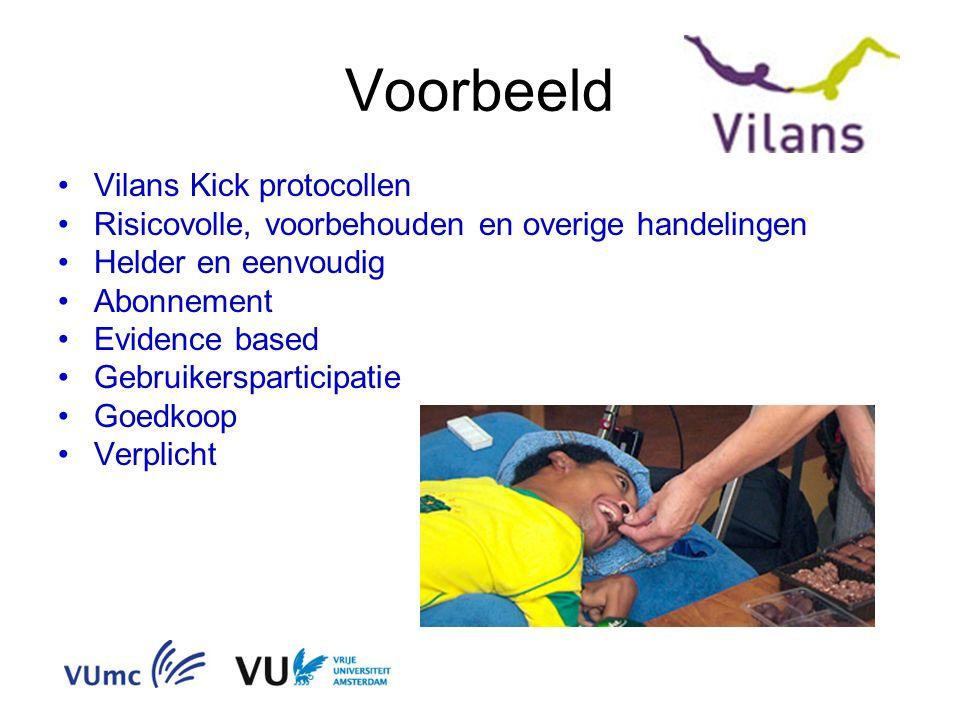 Voorbeeld Vilans Kick protocollen Risicovolle, voorbehouden en overige handelingen Helder en eenvoudig Abonnement Evidence based Gebruikersparticipatie Goedkoop Verplicht