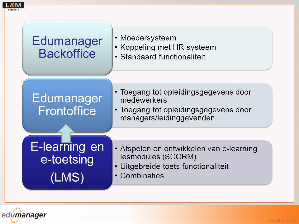 Moedersysteem Koppeling met HR systeem Standaard functionaliteit Edumanager Backoffice Toegang tot opleidingsgegevens door medewerkers Toegang tot opl