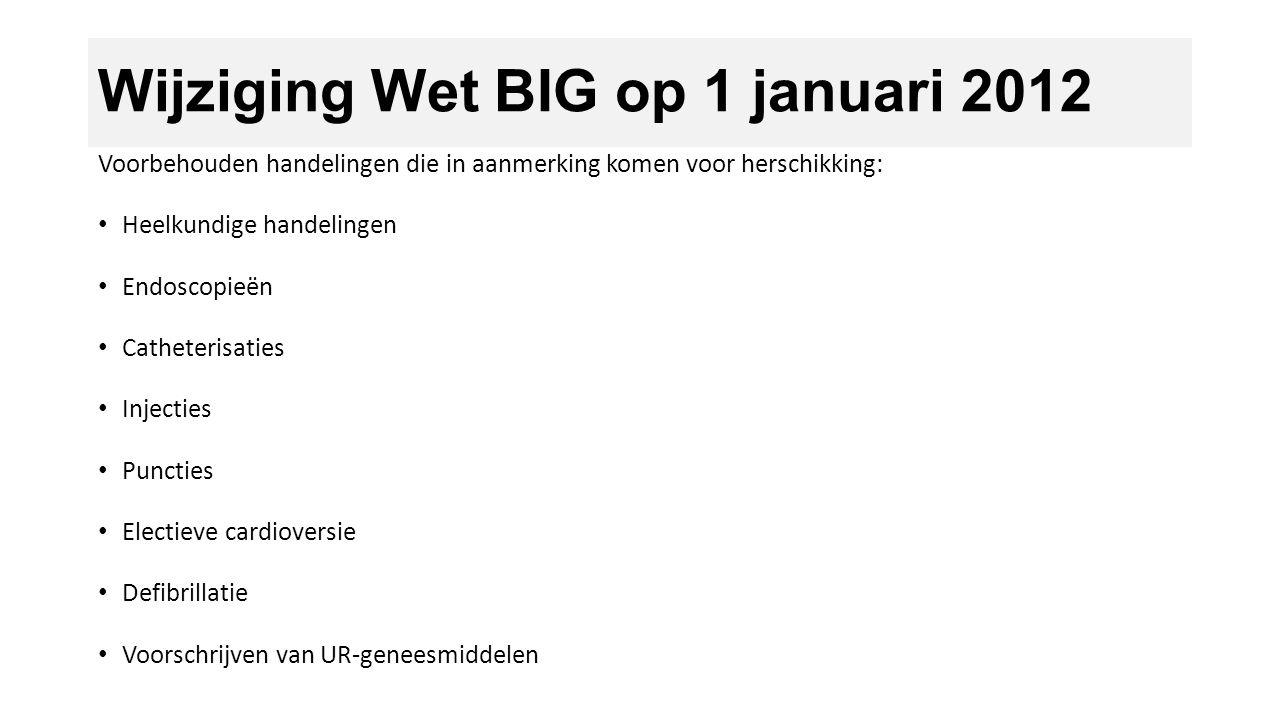 Wijziging Wet BIG op 1 januari 2012 Voorbehouden handelingen die in aanmerking komen voor herschikking: Heelkundige handelingen Endoscopieën Catheteri