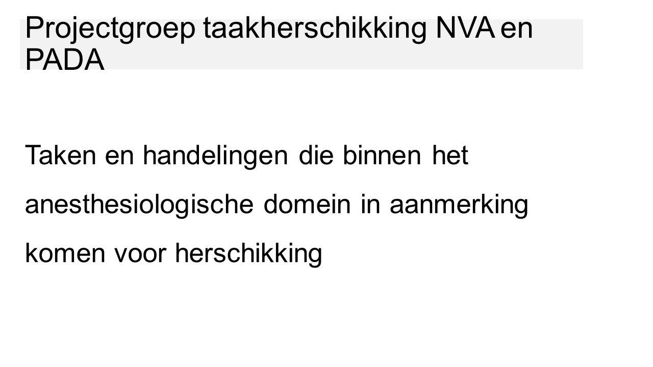 Taken en handelingen die binnen het anesthesiologische domein in aanmerking komen voor herschikking Projectgroep taakherschikking NVA en PADA