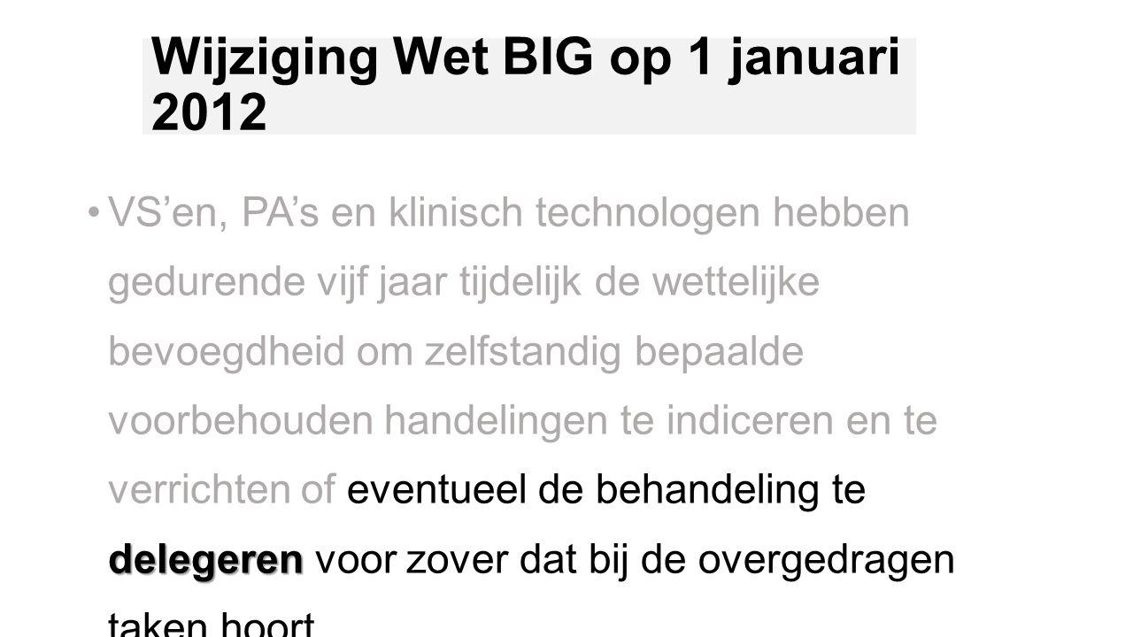 Wijziging Wet BIG op 1 januari 2012 delegerenVS'en, PA's en klinisch technologen hebben gedurende vijf jaar tijdelijk de wettelijke bevoegdheid om zel