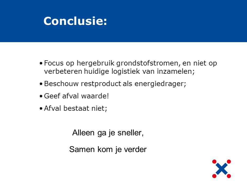 Conclusie: Focus op hergebruik grondstofstromen, en niet op verbeteren huidige logistiek van inzamelen; Beschouw restproduct als energiedrager; Geef a