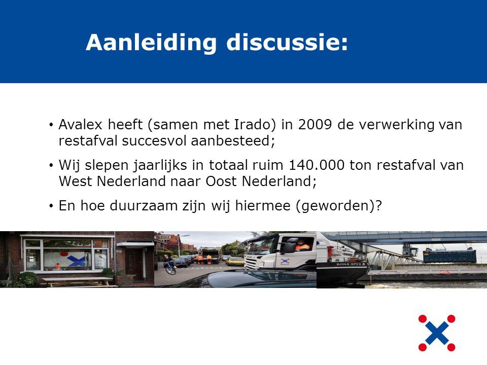 Aanleiding discussie: Avalex heeft (samen met Irado) in 2009 de verwerking van restafval succesvol aanbesteed; Wij slepen jaarlijks in totaal ruim 140