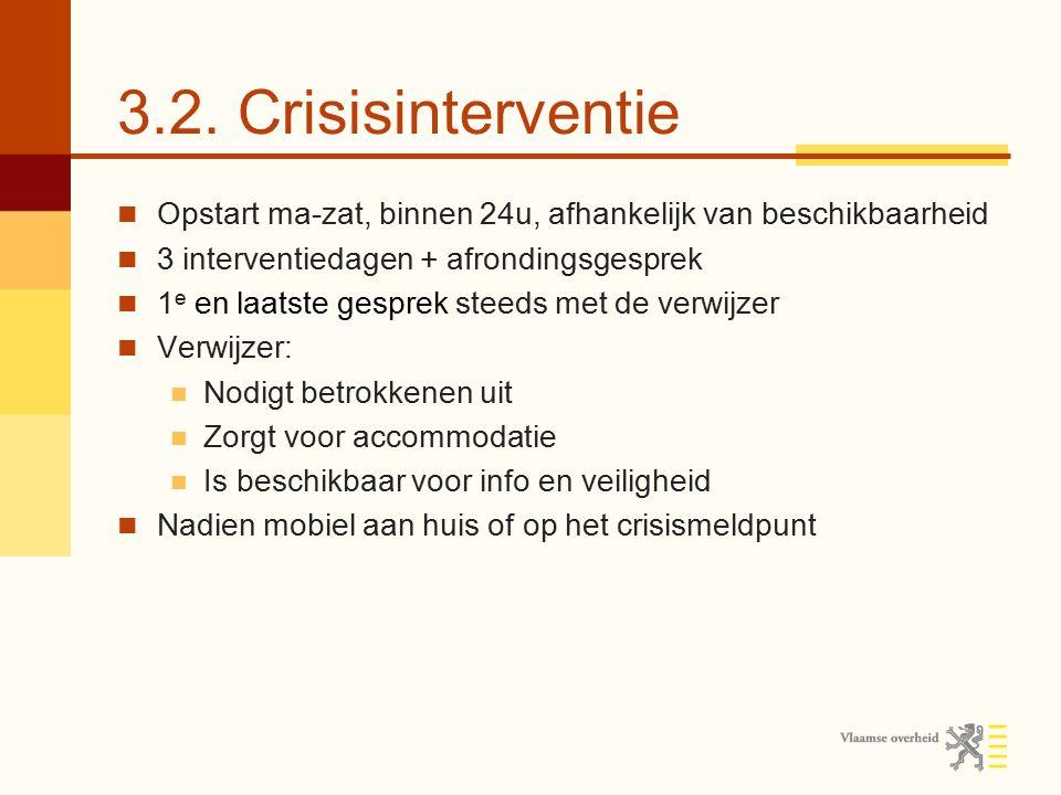 3.2. Crisisinterventie Opstart ma-zat, binnen 24u, afhankelijk van beschikbaarheid 3 interventiedagen + afrondingsgesprek 1 e en laatste gesprek steed