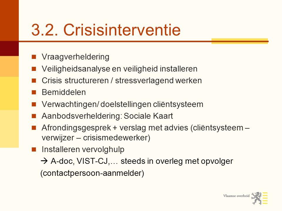 3.2. Crisisinterventie Vraagverheldering Veiligheidsanalyse en veiligheid installeren Crisis structureren / stressverlagend werken Bemiddelen Verwacht