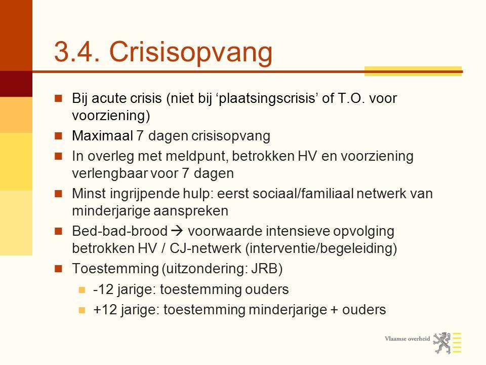 3.4. Crisisopvang Bij acute crisis (niet bij 'plaatsingscrisis' of T.O. voor voorziening) Maximaal 7 dagen crisisopvang In overleg met meldpunt, betro
