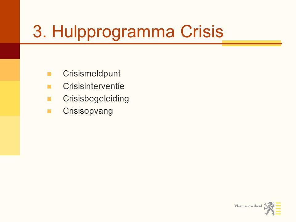 3. Hulpprogramma Crisis Crisismeldpunt Crisisinterventie Crisisbegeleiding Crisisopvang