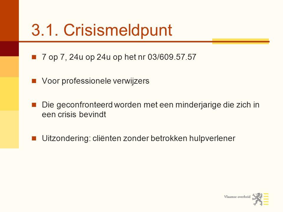 3.1. Crisismeldpunt 7 op 7, 24u op 24u op het nr 03/609.57.57 Voor professionele verwijzers Die geconfronteerd worden met een minderjarige die zich in