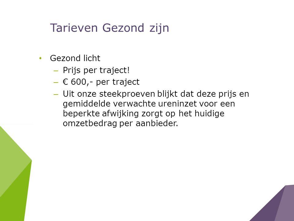Tarieven Gezond zijn Gezond licht – Prijs per traject! – € 600,- per traject – Uit onze steekproeven blijkt dat deze prijs en gemiddelde verwachte ure