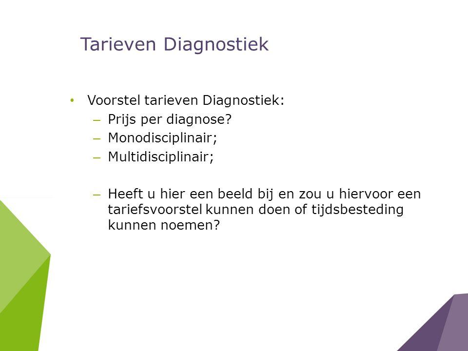 Tarieven Diagnostiek Voorstel tarieven Diagnostiek: – Prijs per diagnose? – Monodisciplinair; – Multidisciplinair; – Heeft u hier een beeld bij en zou