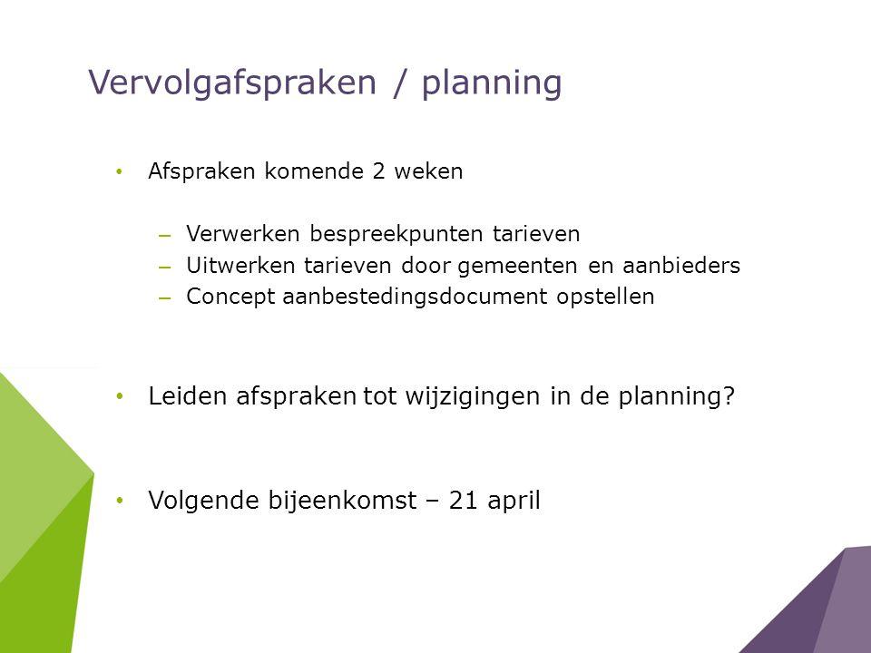 Vervolgafspraken / planning Afspraken komende 2 weken – Verwerken bespreekpunten tarieven – Uitwerken tarieven door gemeenten en aanbieders – Concept