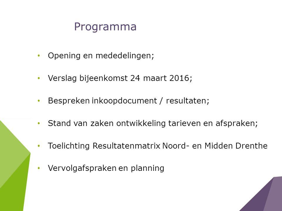 Programma Opening en mededelingen; Verslag bijeenkomst 24 maart 2016; Bespreken inkoopdocument / resultaten; Stand van zaken ontwikkeling tarieven en afspraken; Toelichting Resultatenmatrix Noord- en Midden Drenthe Vervolgafspraken en planning