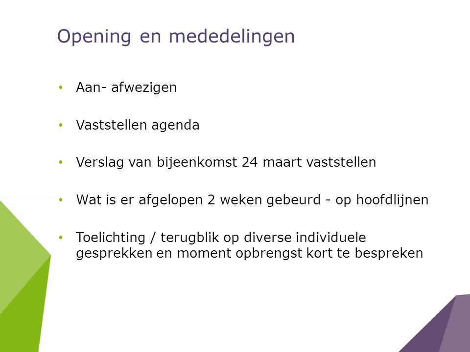 Opening en mededelingen Aan- afwezigen Vaststellen agenda Verslag van bijeenkomst 24 maart vaststellen Wat is er afgelopen 2 weken gebeurd - op hoofdl