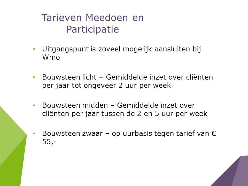 Tarieven Meedoen en Participatie Uitgangspunt is zoveel mogelijk aansluiten bij Wmo Bouwsteen licht – Gemiddelde inzet over cliënten per jaar tot ongeveer 2 uur per week Bouwsteen midden – Gemiddelde inzet over cliënten per jaar tussen de 2 en 5 uur per week Bouwsteen zwaar – op uurbasis tegen tarief van € 55,-
