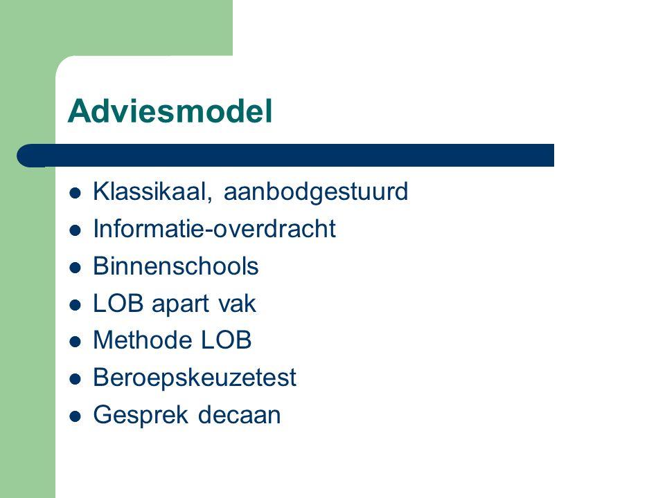 Adviesmodel Klassikaal, aanbodgestuurd Informatie-overdracht Binnenschools LOB apart vak Methode LOB Beroepskeuzetest Gesprek decaan