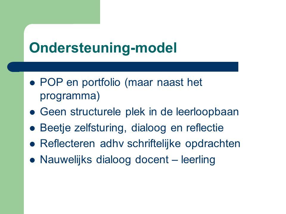 Ondersteuning-model POP en portfolio (maar naast het programma) Geen structurele plek in de leerloopbaan Beetje zelfsturing, dialoog en reflectie Refl
