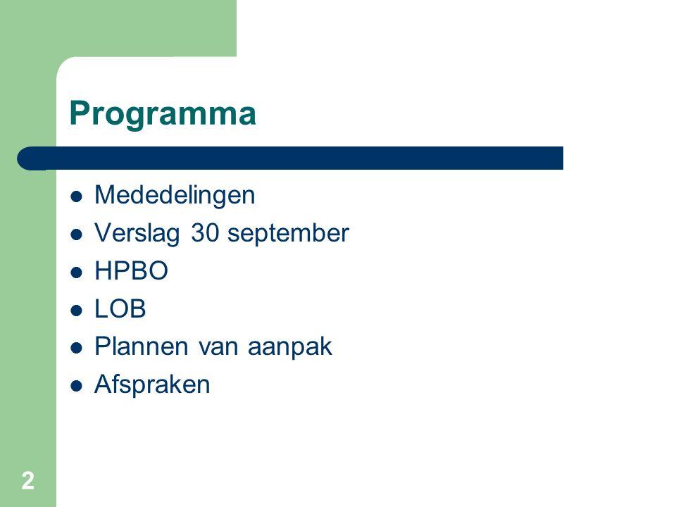 Programma Mededelingen Verslag 30 september HPBO LOB Plannen van aanpak Afspraken 2