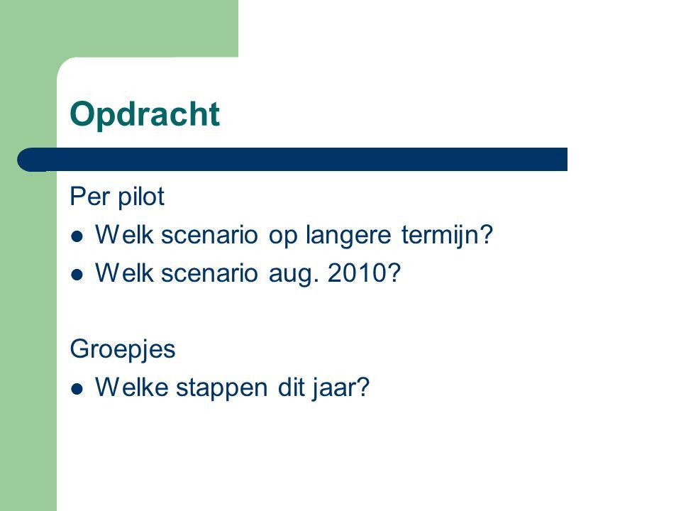 Opdracht Per pilot Welk scenario op langere termijn? Welk scenario aug. 2010? Groepjes Welke stappen dit jaar?