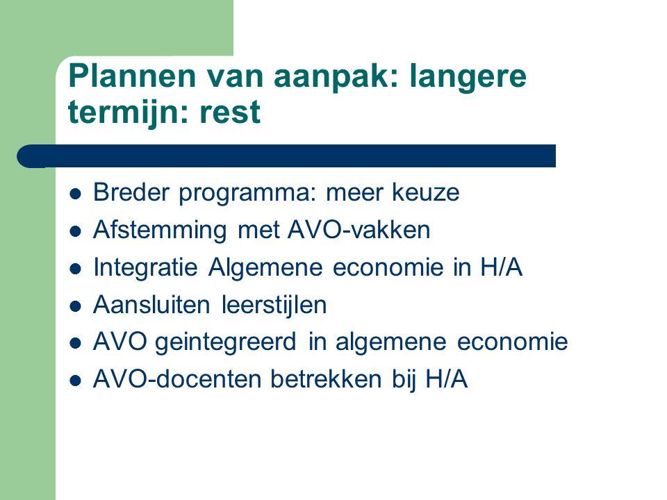 Plannen van aanpak: langere termijn: rest Breder programma: meer keuze Afstemming met AVO-vakken Integratie Algemene economie in H/A Aansluiten leerst