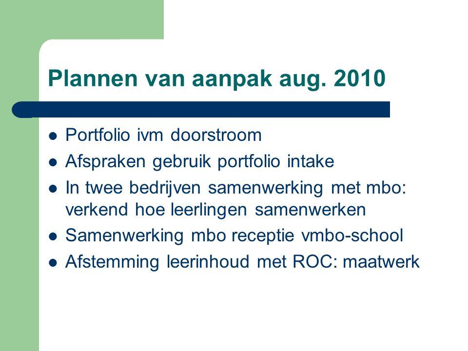 Plannen van aanpak aug. 2010 Portfolio ivm doorstroom Afspraken gebruik portfolio intake In twee bedrijven samenwerking met mbo: verkend hoe leerlinge
