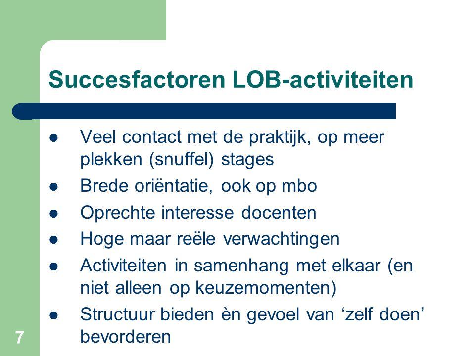 Succesfactoren LOB-activiteiten Veel contact met de praktijk, op meer plekken (snuffel) stages Brede oriëntatie, ook op mbo Oprechte interesse docente