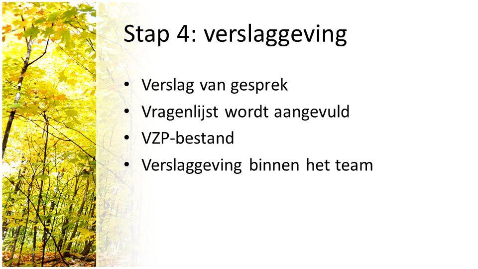 Stap 4: verslaggeving Verslag van gesprek Vragenlijst wordt aangevuld VZP-bestand Verslaggeving binnen het team