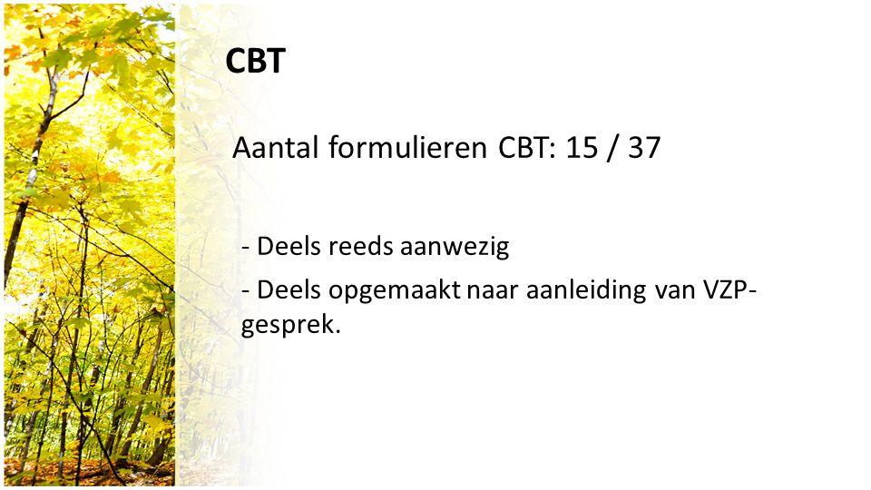 CBT Aantal formulieren CBT: 15 / 37 - Deels reeds aanwezig - Deels opgemaakt naar aanleiding van VZP- gesprek.