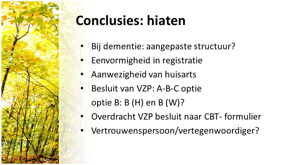 Conclusies: hiaten Bij dementie: aangepaste structuur.