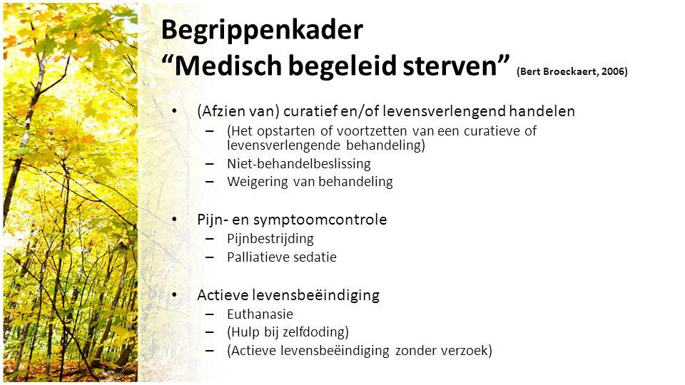 Begrippenkader Medisch begeleid sterven (Bert Broeckaert, 2006) (Afzien van) curatief en/of levensverlengend handelen – (Het opstarten of voortzetten van een curatieve of levensverlengende behandeling) – Niet-behandelbeslissing – Weigering van behandeling Pijn- en symptoomcontrole – Pijnbestrijding – Palliatieve sedatie Actieve levensbeëindiging – Euthanasie – (Hulp bij zelfdoding) – (Actieve levensbeëindiging zonder verzoek)