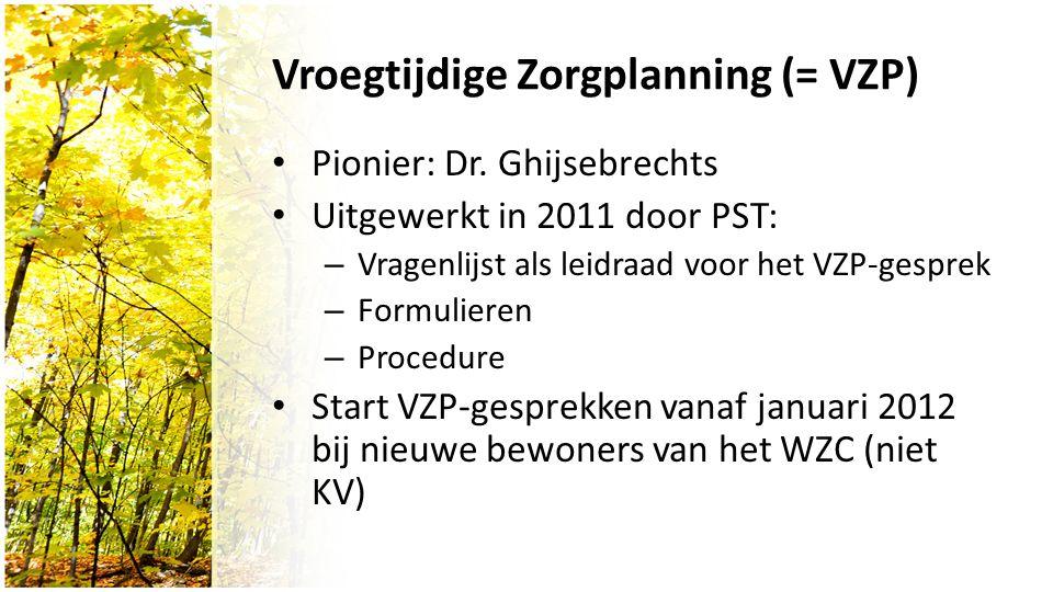 Vroegtijdige Zorgplanning (= VZP) Pionier: Dr.