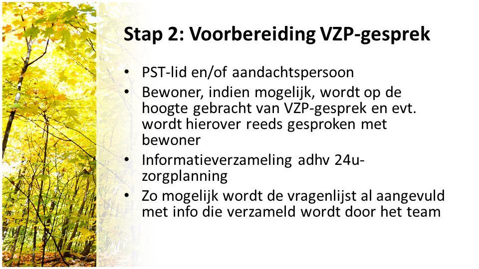 Stap 2: Voorbereiding VZP-gesprek PST-lid en/of aandachtspersoon Bewoner, indien mogelijk, wordt op de hoogte gebracht van VZP-gesprek en evt.