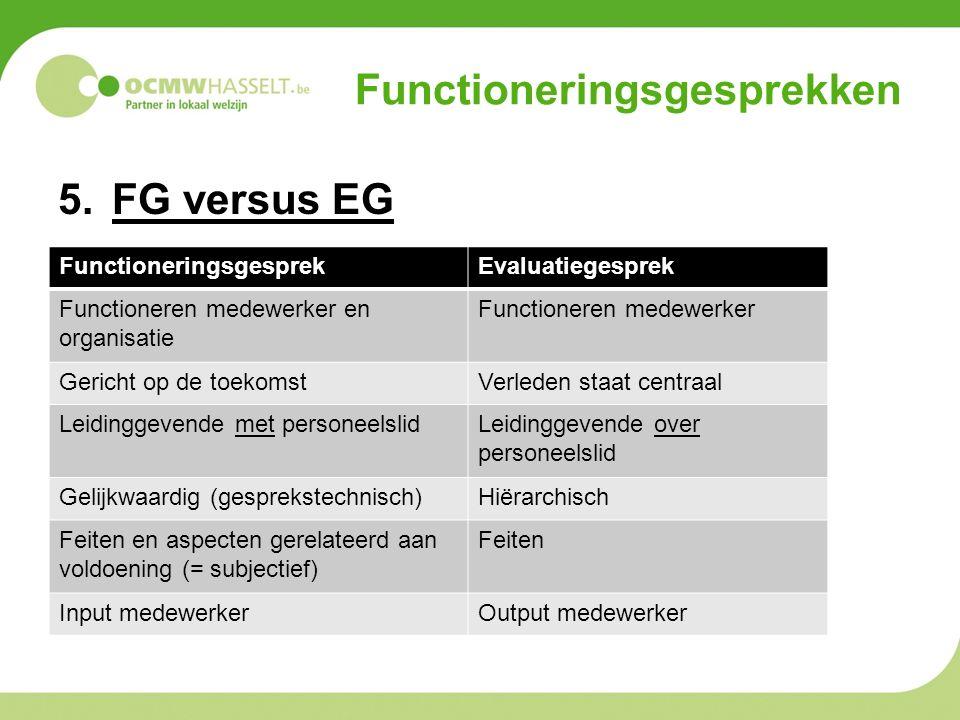 Functioneringsgesprekken 5.FG versus EG FunctioneringsgesprekEvaluatiegesprek Functioneren medewerker en organisatie Functioneren medewerker Gericht o