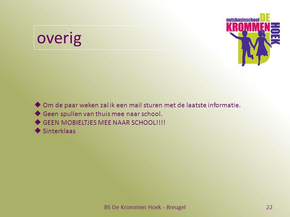 BS De Krommen Hoek - Breugel22 overig  Om de paar weken zal ik een mail sturen met de laatste informatie.