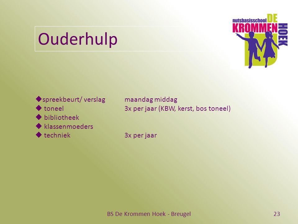 BS De Krommen Hoek - Breugel23 Ouderhulp  spreekbeurt/ verslag maandag middag  toneel 3x per jaar (KBW, kerst, bos toneel)  bibliotheek  klassenmoeders  techniek 3x per jaar