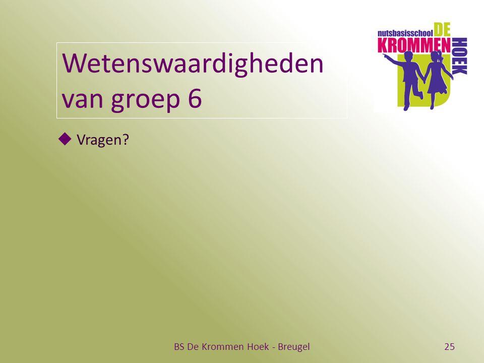 BS De Krommen Hoek - Breugel25 Wetenswaardigheden van groep 6  Vragen