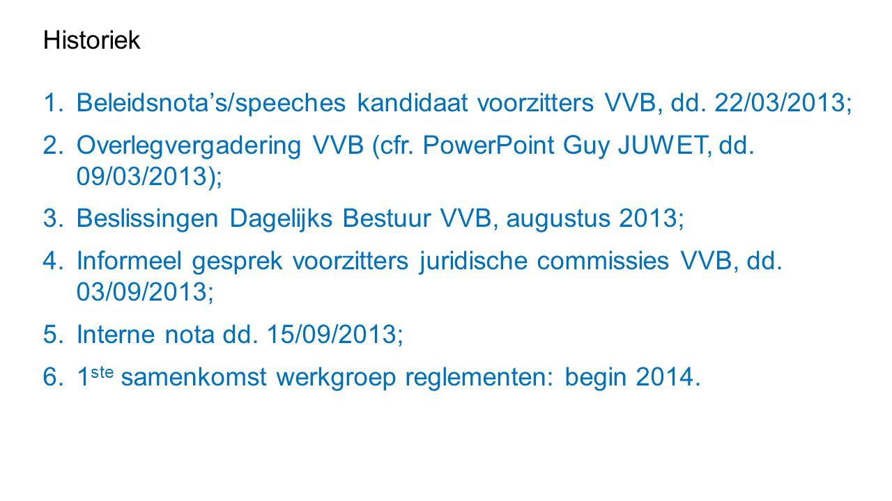 Historiek 1.Beleidsnota's/speeches kandidaat voorzitters VVB, dd.