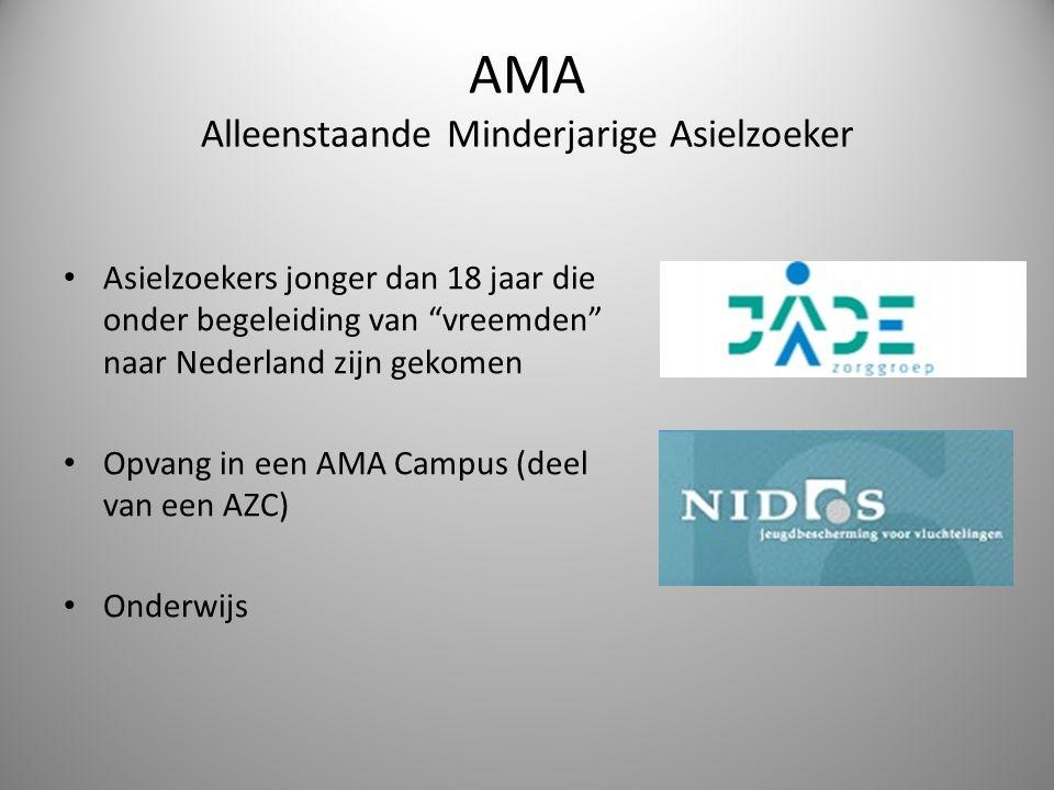 """AMA Alleenstaande Minderjarige Asielzoeker Asielzoekers jonger dan 18 jaar die onder begeleiding van """"vreemden"""" naar Nederland zijn gekomen Opvang in"""