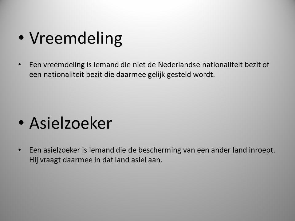 Vreemdeling Een vreemdeling is iemand die niet de Nederlandse nationaliteit bezit of een nationaliteit bezit die daarmee gelijk gesteld wordt. Asielzo