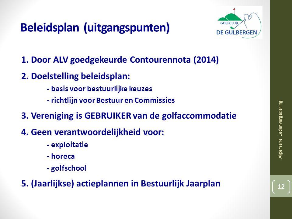 Beleidsplan (uitgangspunten) 1. Door ALV goedgekeurde Contourennota (2014) 2.