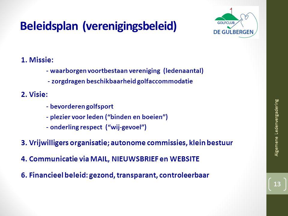 Beleidsplan (verenigingsbeleid) 1. Missie: - waarborgen voortbestaan vereniging (ledenaantal) - zorgdragen beschikbaarheid golfaccommodatie 2. Visie: