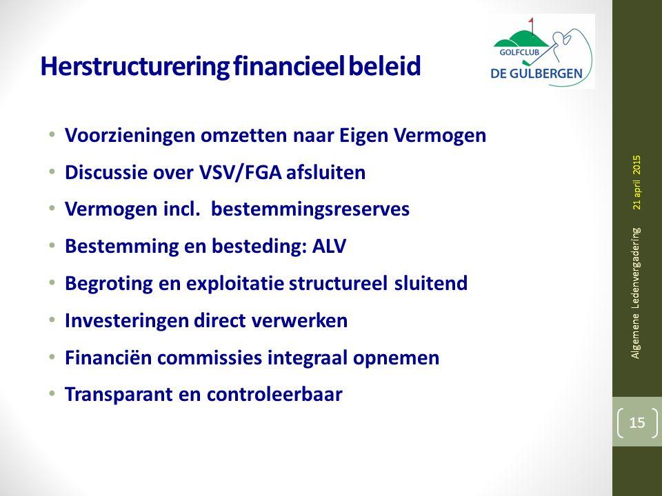 Herstructurering financieel beleid Voorzieningen omzetten naar Eigen Vermogen Discussie over VSV/FGA afsluiten Vermogen incl.