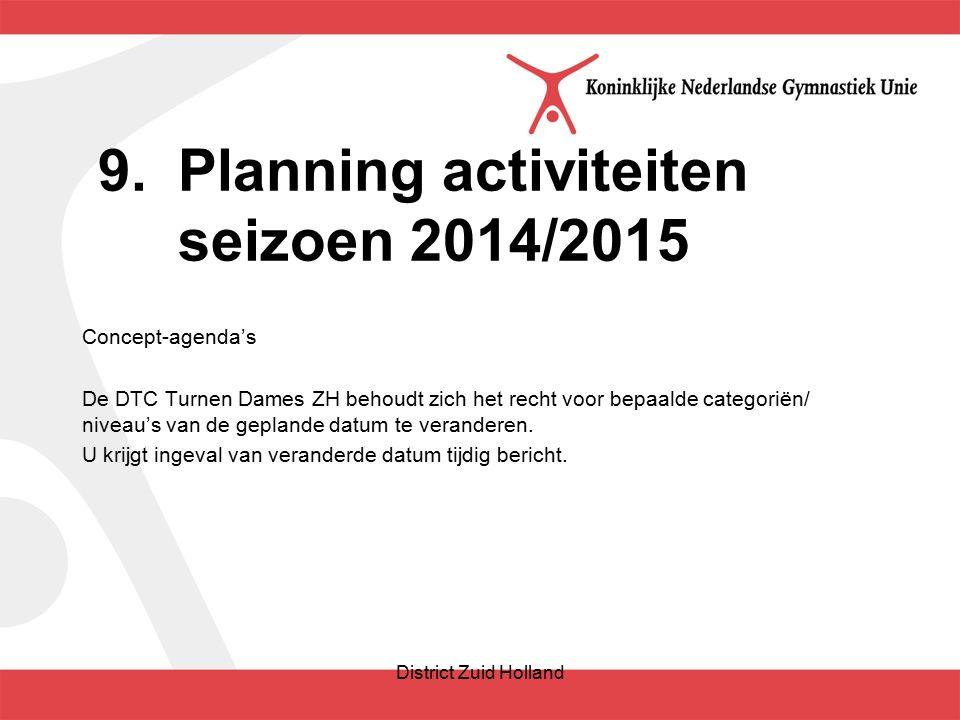 9.Planning activiteiten seizoen 2014/2015 Concept-agenda's De DTC Turnen Dames ZH behoudt zich het recht voor bepaalde categoriën/ niveau's van de geplande datum te veranderen.